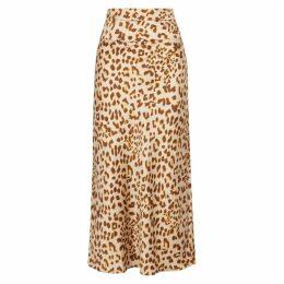 Free People Normani Leopard-print Satin Midi Skirt