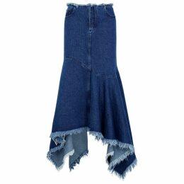 MARQUES' ALMEIDA Dark Blue Asymmetric Denim Midi Skirt