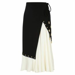 Tory Burch Black Stretch-jersey And Satin Wrap Skirt
