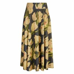 Traffic People Dior Metallic Maxi Floral Skirt In Blue