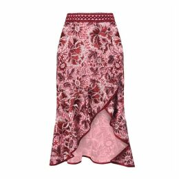 True Decadence True Decadence Pink Burgundy Lace High Waisted Midi Skirt