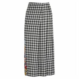 McQ Alexander McQueen Decon Checked And Floral-print Midi Skirt