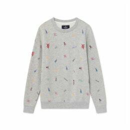 Hackett London Icons Print Cotton Blend Crew Neck Sweater