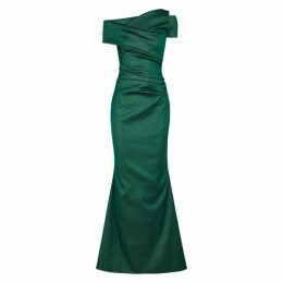 Talbot Runhof Moa Metallic Green Ruched Gown