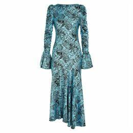 De La Vali Clementine Blue Printed Stretch-silk Midi Dress