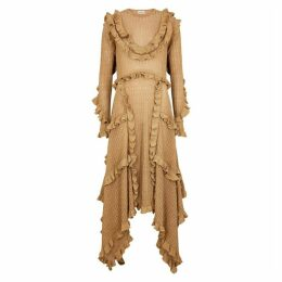 BY MALENE BIRGER Erna Gold Ruffle-trimmed Metallic-knit Dress