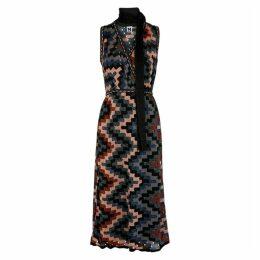 M Missoni Geometric Metallic-knit Midi Dress