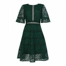True Decadence True Decadence Dark Green Lace Cut Work Midi Dress