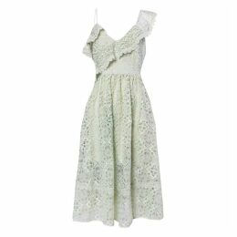 True Decadence True Decadence Light Green Lace Cut Work Midi Skater Dress