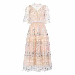 True Decadence True Decadence Nude Embellished Geometric Print Midi Dress