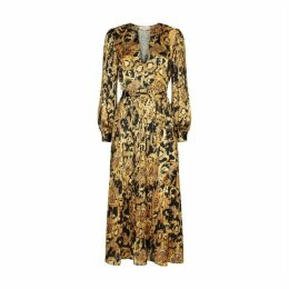 Traffic People Falls And Rises Maxi Pleated Dress In Black And Gold