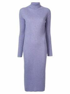 Tomorrowland turtleneck ribbed-knit dress - PURPLE