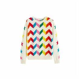 Chinti & Parker Cream Chevron Wool-cashmere Sweater