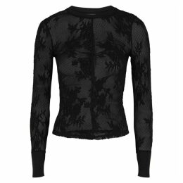 Free People Cool With It Black Stretch-lace Top