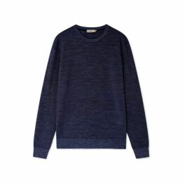 Hackett Diagonal Knit Wool Silk And Cashmere Crew Neck Sweater