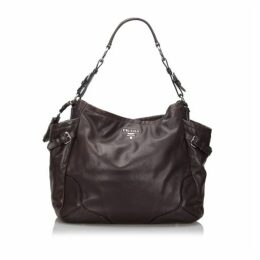Prada Brown Vitello Daino Leather Shoulder Bag