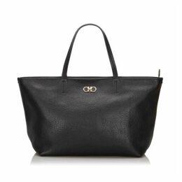 Ferragamo Black Leather Gina Tote Bag