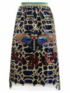 5 Progress butterfly sequin-embellished skirt - Blue