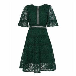 True Decadence - Dark Green Lace Cut Work Midi Dress