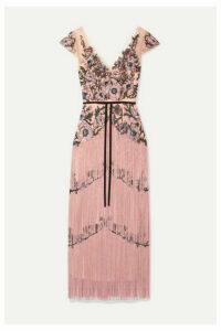 Marchesa Notte - Fringed Embellished Embroidered Tulle Midi Dress - Blush