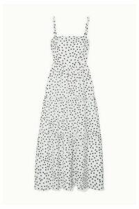 Heidi Klein - Tiered Polka-dot Silk-crepe Maxi Dress - White