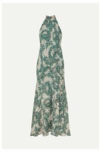 Diane von Furstenberg - Leeann Floral-print Fil Coupé Silk-blend Chiffon Halterneck Maxi Dress - Green