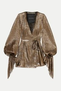 Roland Mouret - Hamberg Metallic Plissé Silk-blend Wrap Mini Dress - Gold