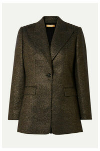 Michael Kors Collection - Checked Metallic Wool-blend Blazer - Gold