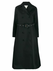 Mackintosh double breasted long trench coat - Black