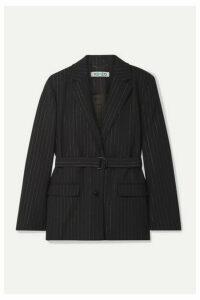 KENZO - Belted Metallic Pinstriped Wool-blend Blazer - Black