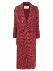 Circolo 1901 chevron pattern double-breasted coat - PINK