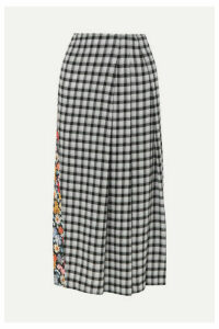 McQ Alexander McQueen - Decon Paneled Floral-print Crepe And Checked Flannel Midi Skirt - Black