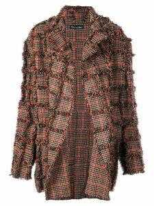 Oscar de la Renta oversized plaid fringed coat - Brown
