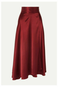 HARMUR - Silk-satin Wrap Midi Skirt - Burgundy