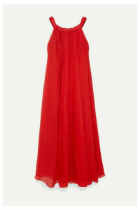 Three Graces London - Evangeline Off-the-shoulder Pleated Ramie Maxi Dress - Red