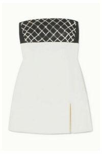 David Koma - Strapless Crystal-embellished Cady Mini Dress - White