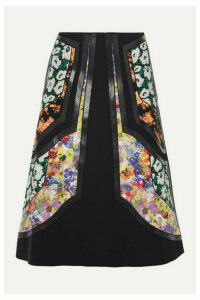 Stella McCartney - Paneled Vegetarian Leather-trimmed Wool-twill And Floral-print Silk Skirt - Black