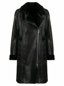 Patrizia Pepe fitted biker coat - Black