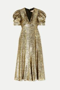 Michael Kors Collection - Metallic Fil Coupé Leopard-jacquard Midi Dress - Gold