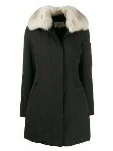 Peuterey contrasting collar padded coat - Black
