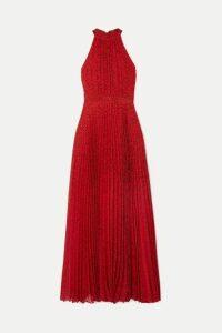 Alice + Olivia - Kelissa Pleated Leopard-print Voile Halterneck Maxi Dress - Red