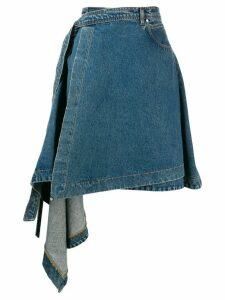 House of Holland asymmetric tie waist skirt - Blue