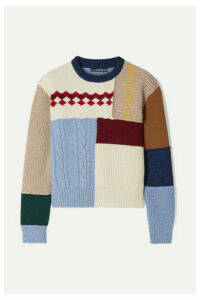 ALEXACHUNG - Patchwork Wool Sweater - Cream