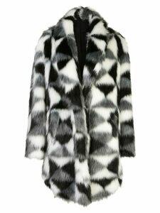 Unravel Project geometric-print asymmetric coat - Black