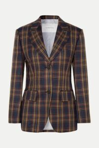 Pushbutton - Paneled Faux Leather And Checked Twill Blazer - Brown