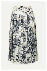 Victoria, Victoria Beckham - Pleated Printed Satin Midi Skirt - Ivory