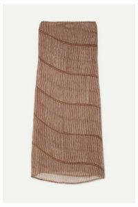 Cloe Cassandro - Billie Convertible Striped Silk-crepon Dress - Neutral