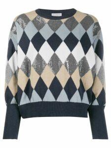 Brunello Cucinelli argyle pattern jumper - Blue