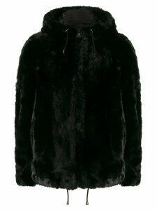 DKNY hooded faux fur jacket - Black