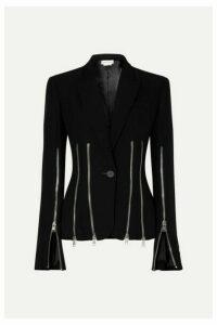 Alexander McQueen - Zip-detailed Wool-blend Crepe Blazer - Black